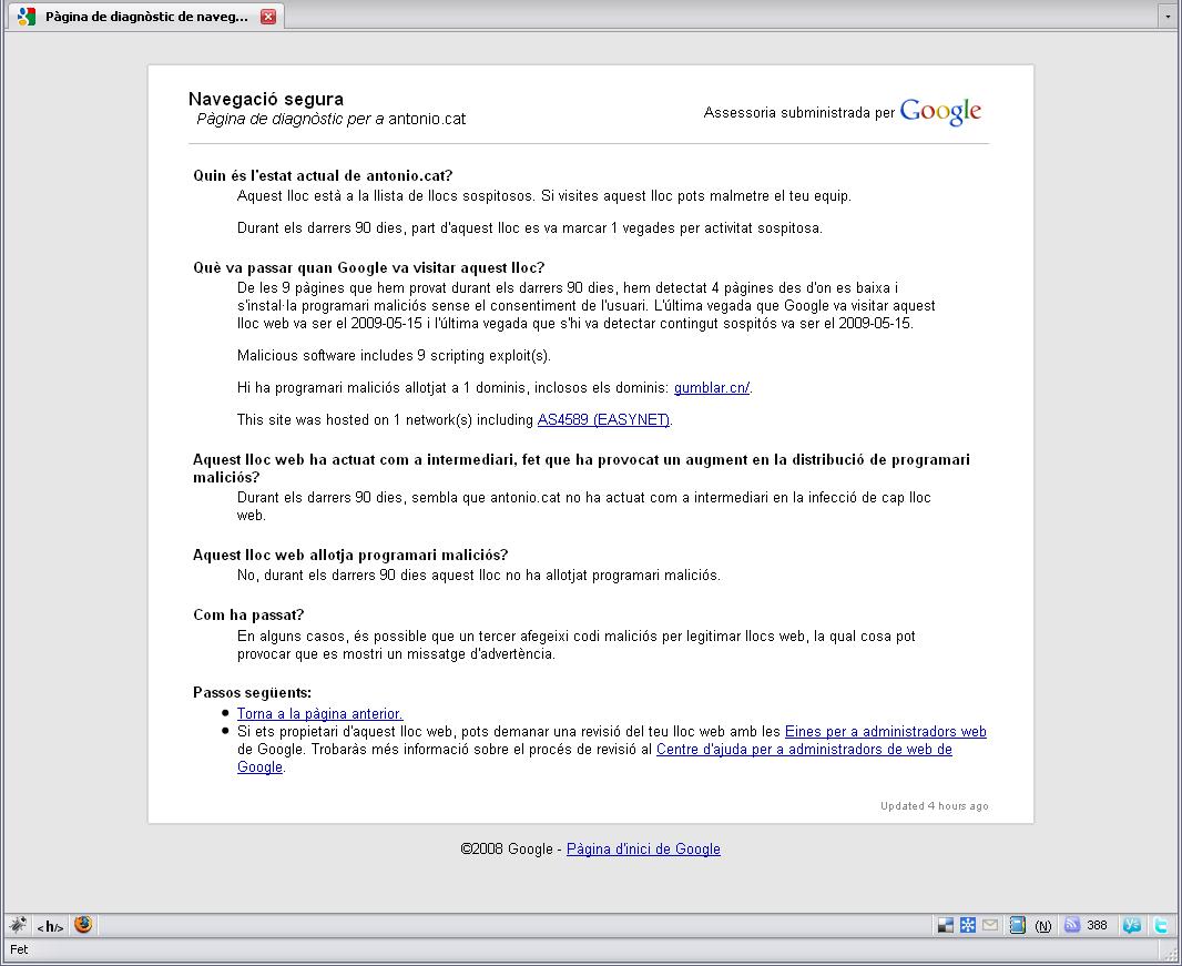 Informació de Google sobre l'atac