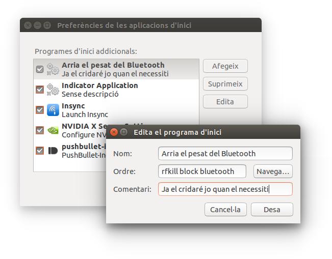 Configuració del Bluetooth a l'inici de l'Ubuntu